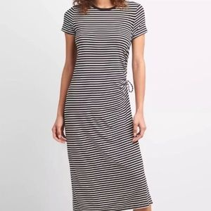 Gap Black White Striped Ruched Side T Shirt Dress